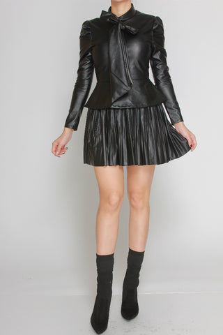Jamie Faux Leather Ribbon Top (Black only)