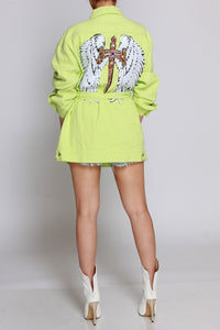 The Neon Wing Bling Jean Jacket (runs a little big)