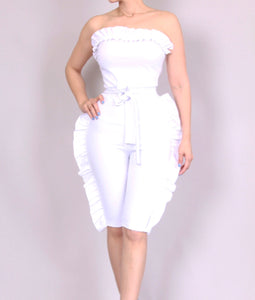 White Angel Ruffle knee-length jumpsuit ***PRE ORDER***