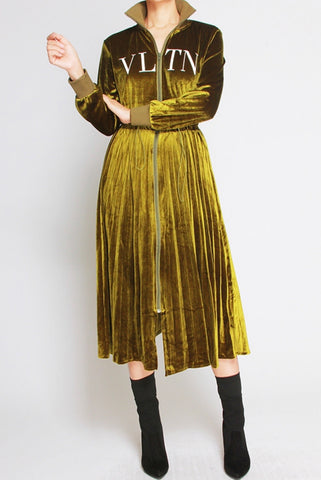 Valentino Inspired Velour Zip Up Dress