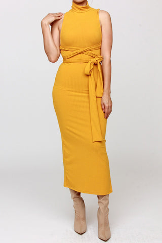Celeste Mustard Strappy Midi Dress  (mustard color only)