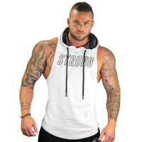 Fitness Men Bodybuilding Cotton Sleeveless Tank Top Solid with Stringer Hood