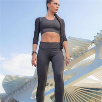 Summer Women Fitness Suits Quick Dry Mesh Sleeve Elastic Sportswear Sets Yoga Dancing Running Girls Gym Suits Wholesale #EW