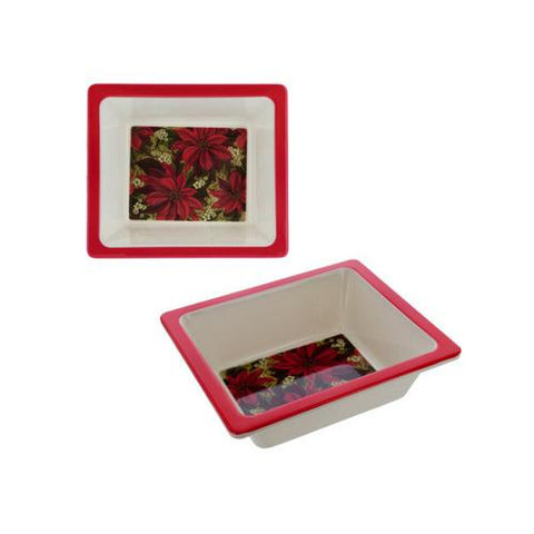 Melamine Square Dish with Poinsettia Design ( Case of 10 )