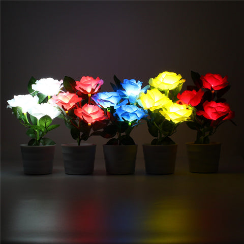 Mising Light Control Solar Power Rose 3 LED Solar Light Landscape Flowerpot Lamp Outdoor LED Garden Light Yard Decor