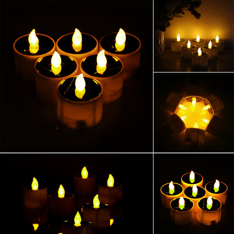6pcs LED Solar Powered Candle Light Lamp Tealight with Light Sensor Yellow Flickering Light for Indoor Decoration