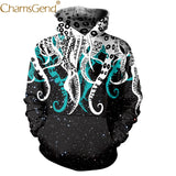 Chamsgend Hoodies Women Girls Cool 3D Octopus Print Streetwear Hip Hop Blouse Tops Hoodie Sweatshirt With Front Pocket  71226