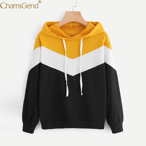 Chamsgend Hoodies Women Girl Spring Casual Lace Sweatshirt Yellow White Black Patchwork Street Fashion Top Loose Shirt 71226