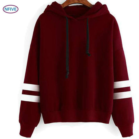 NFIVE Brand 2017 Woman Thick Hooded shirts Hot Explosion Models Hooded Loose Fashion Parallel Bars Solid Pullover