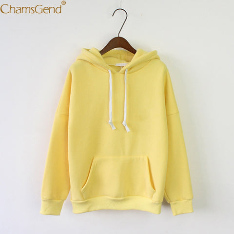 Chamsgend Hoodies Women Girls Solid Candy Color Winter Warm Thick Coat Hoodie Sweatshirt Pullover Outfit 71226