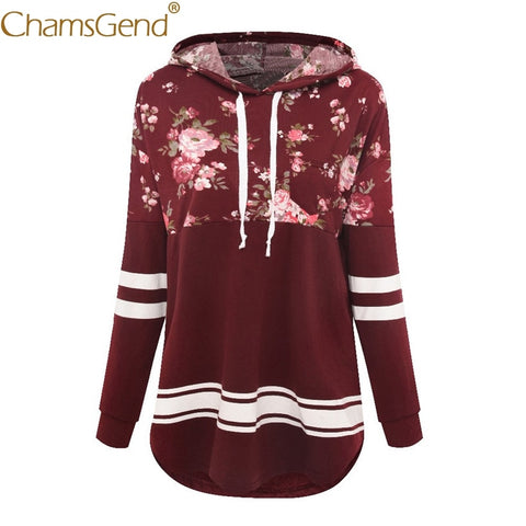 Chamsgend Hoodies Women Fashion Flowers Print Striped Sleeve Burgundy Hoody Pullover Blouse Tops Female Sweatshirt 71226