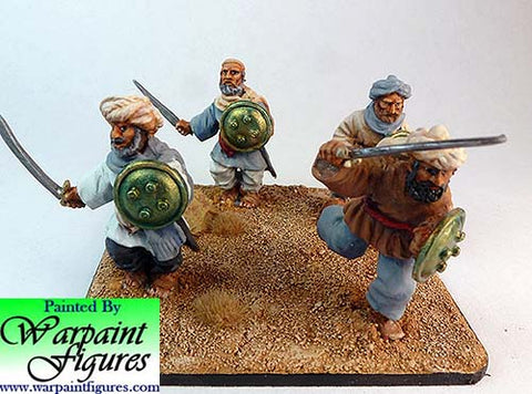 Painted 2nd Afghan War Pathans with hand weapons by Warpaint figures