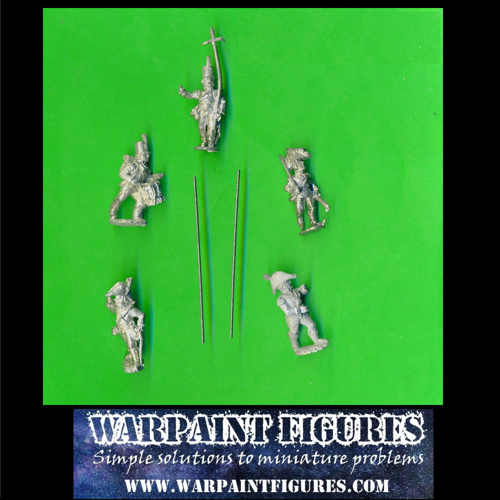 Cheap Front Rank Wargames Foundry 28mm British Napoleonic Centre Company Command x 5 Stove Pipe Shako