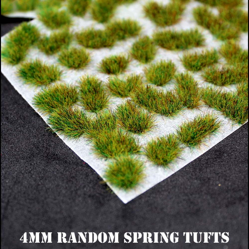 Warpaint Figures - 4mm Spring Random Self Adhesive Static Grass tufts for basing miniatures wargaming, warhammer 40K wargames figures painted bases