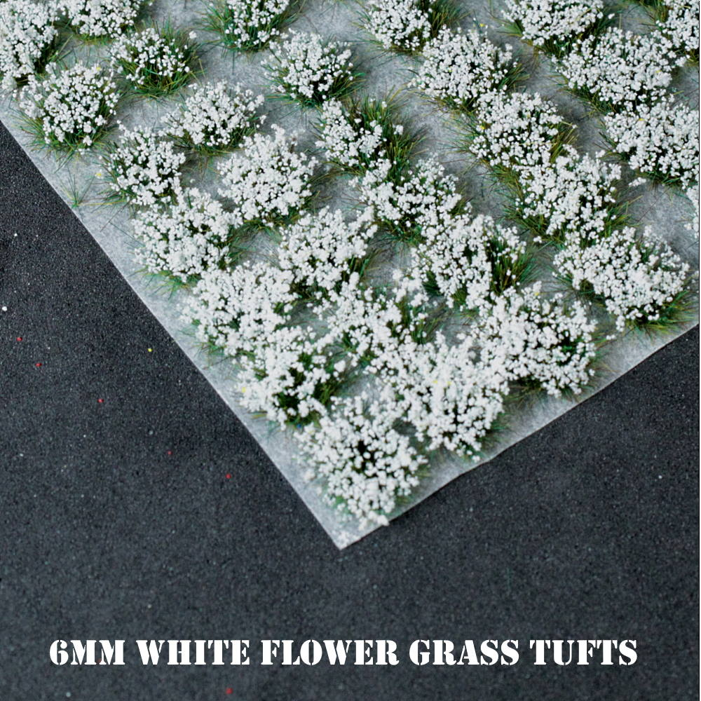 6mm White Flowers Static Grass Tufts