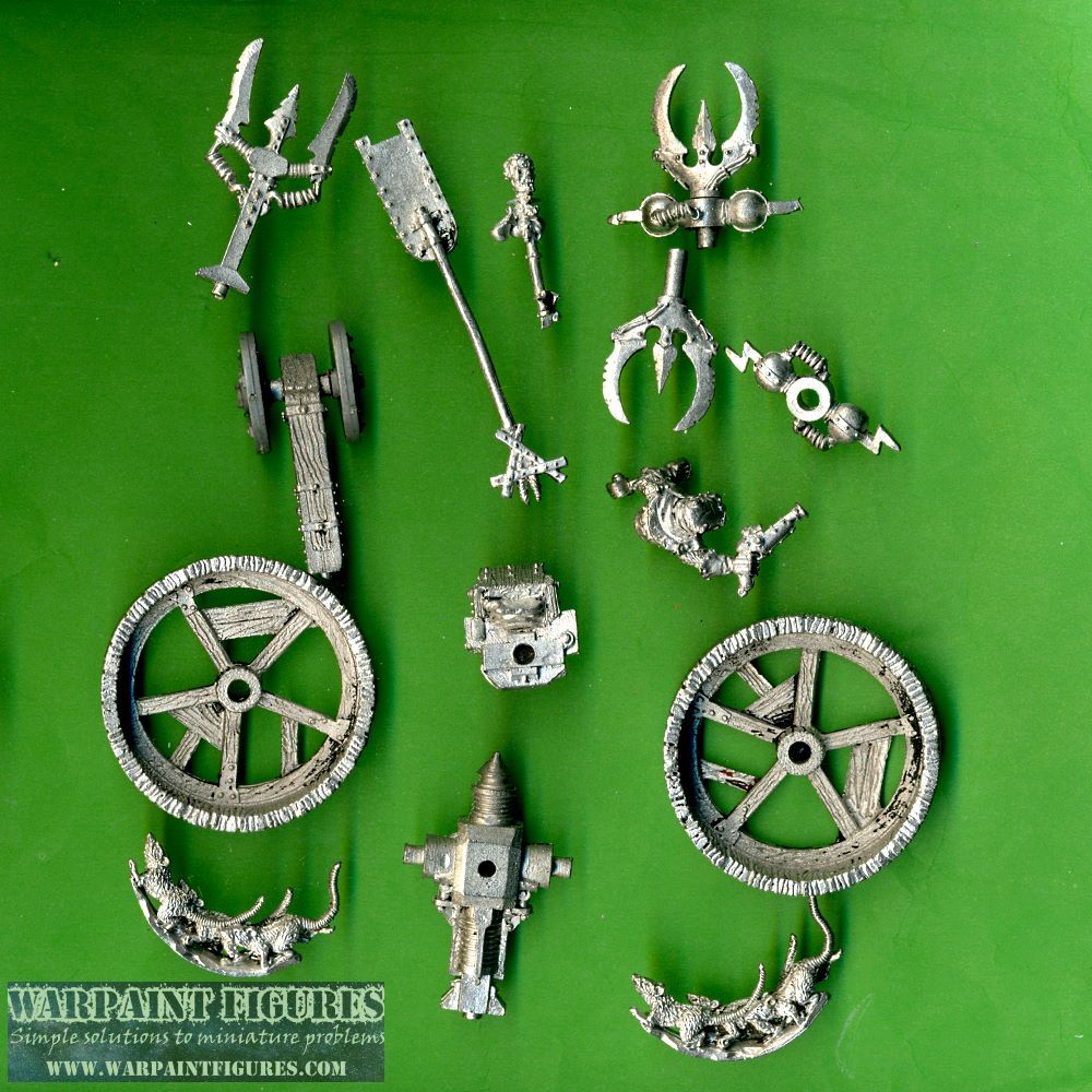 Warpaint Figures - OOP 1993 Games Workshop Warhammer Fantasy Battle AOS Skaven Doomwheel Complete