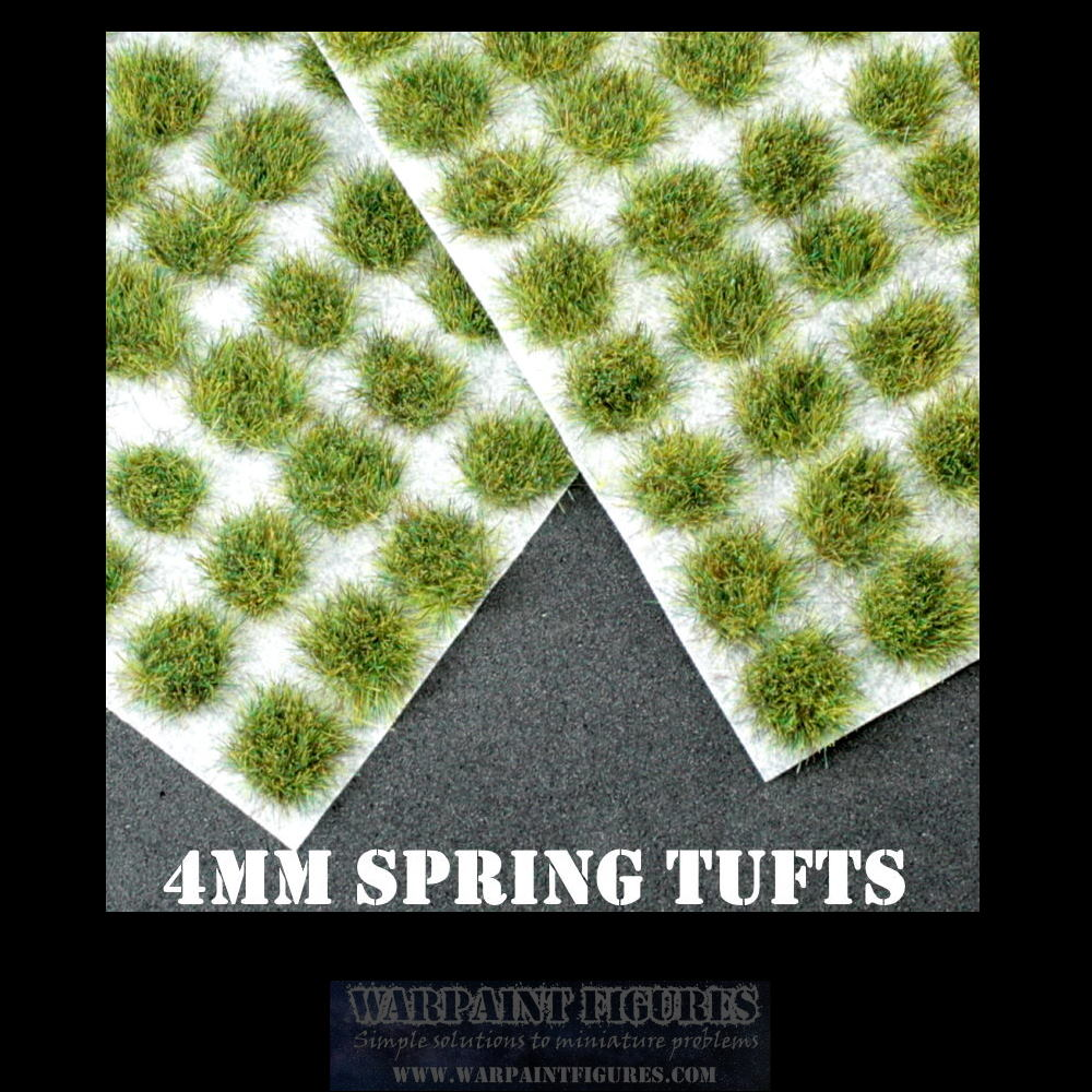 Warpaint Figures | 120 x 4mm Spring Self Adhesive Static Grass Tufts for Wargaming, Wargames, Terrain, Scenery, Painted Miniatures, Warhammer, KOW and more