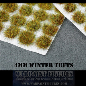 Warpaint Figures | 120 x 4mm Winter Self Adhesive Static Grass Tufts for Wargaming, Wargames, Terrain, Scenery, Painted Miniatures, Warhammer, KOW and more