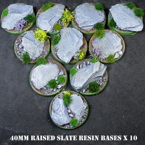 Warpaint Figures - Detailed slate Design resin bases for wargames painted miniatures 40K AOS raised edges