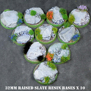 32mm Slate bases for wargaming gaming skirmish rules Warhammer 40K bases Infamy! Infamy and more - raised