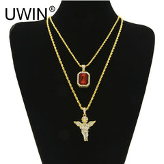 $23 Micro Square Crystal With Full Rhinestone Angel Wing Pendant Necklace Chain