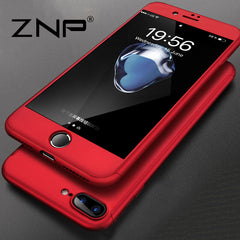 360 Degree Full Cover Red Cases For iPhone 6 6s 7 Plus Case wish Tempered Glass Cover For iphone 7 7Plus 6s Phone Case Capa