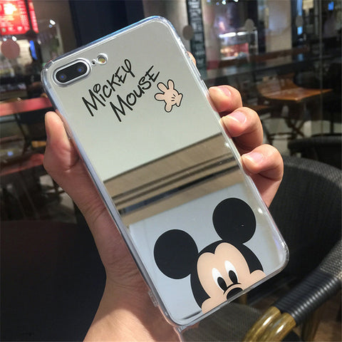 Cartoon Mickey Mouse Mirror Phone Cases for iPhone 6 6s Plus SE 5S Silicone Soft Back Cover for iPhone 7 8 Plus X Case