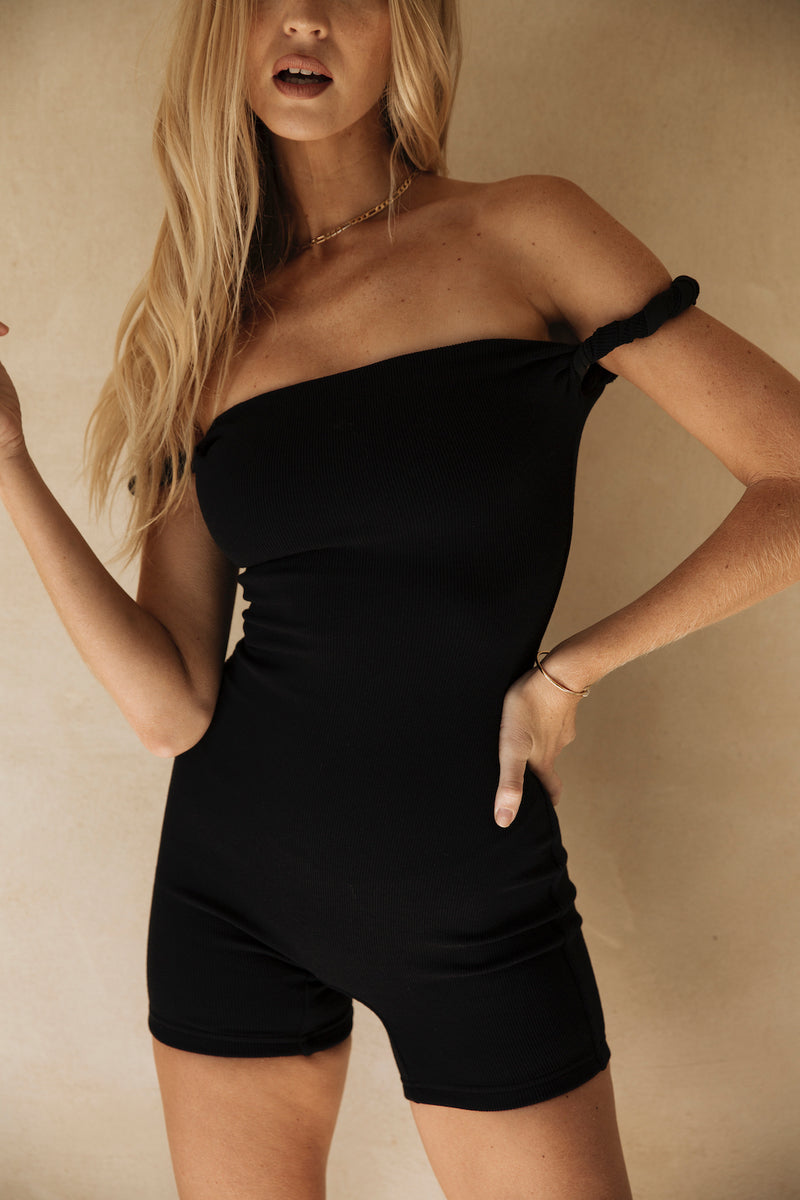 The Marie Romper Black