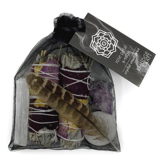 Rose Petal Sage Smudge Kit - Hemlock Park Natural Skincare Made From Organic Ingredients