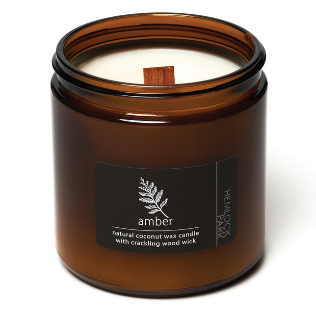 Amber | Crackling Wood Wick Candle with Organic Coconut Wax
