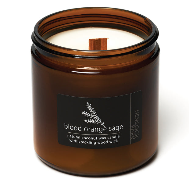 Blood Orange Sage | Crackling Wood Wick Candle with Organic Coconut Wax