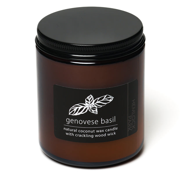 Genovese Basil | Crackling Wood Wick Candle with Organic Coconut Wax