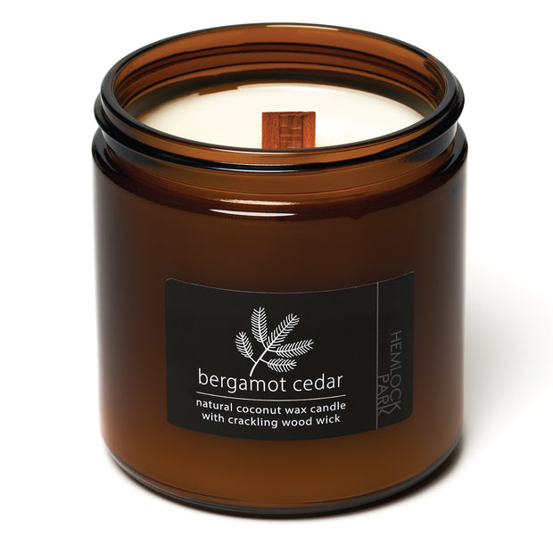 Bergamot Cedar | Crackling Wood Wick Candle with Organic Coconut Wax