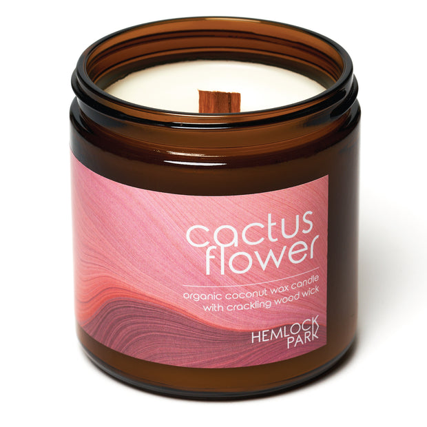 Cactus Flower | Crackling Wood Wick Candle with Organic Coconut Wax