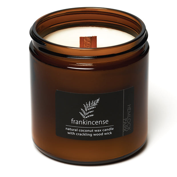 Frankincense | Crackling Wood Wick Candle with Organic Coconut Wax