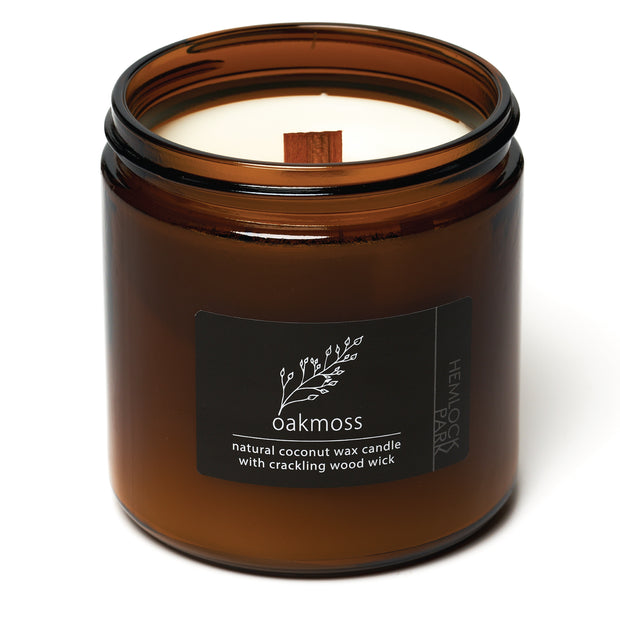 Oakmoss | Crackling Wood Wick Candle with Organic Coconut Wax