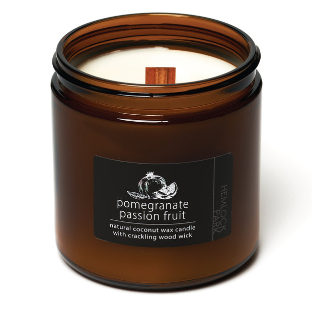 Pomegranate Passion Fruit | Crackling Wood Wick Candle with Organic Coconut Wax