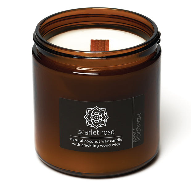 Scarlet Rose | Crackling Wood Wick Candle with Organic Coconut Wax