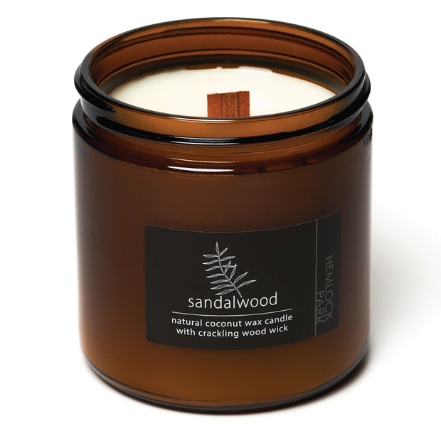 Sandalwood | Crackling Wood Wick Candle with Organic Coconut Wax