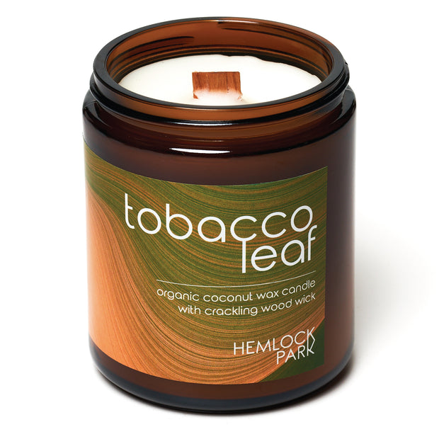 Tobacco Leaf | Crackling Wood Wick Candle with Organic Coconut Wax