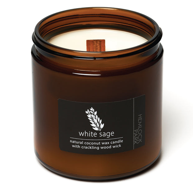 White Sage | Crackling Wood Wick Candle with Organic Coconut Wax
