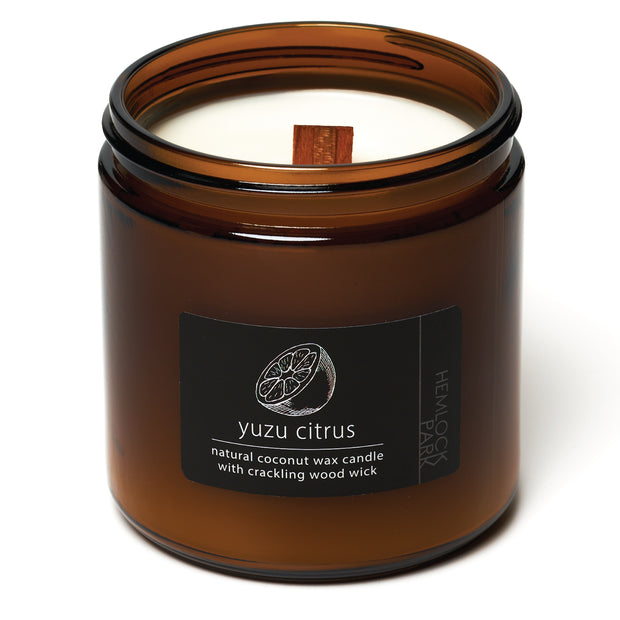 Yuzu Citrus | Crackling Wood Wick Candle with Organic Coconut Wax