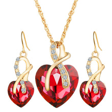 Crystal Heart Necklace & Earrings - Bohemian Lily