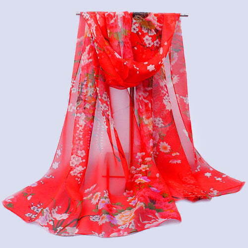 Floral Chiffon Scarf - 13 Colors - Bohemian Lily