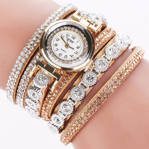 Rhinestone Embellished Bracelet Watch - 11 Colors - Bohemian Lily