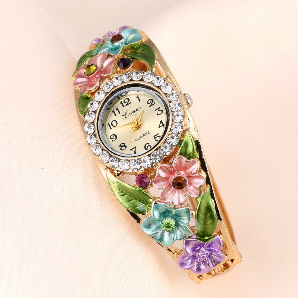 Flowers & Diamonds Quartz Wrist Watch - Bohemian Lily