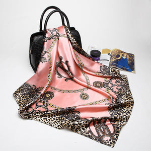 Pink Leopard Luxury Satin Scarf - 18 Colors - Bohemian Lily
