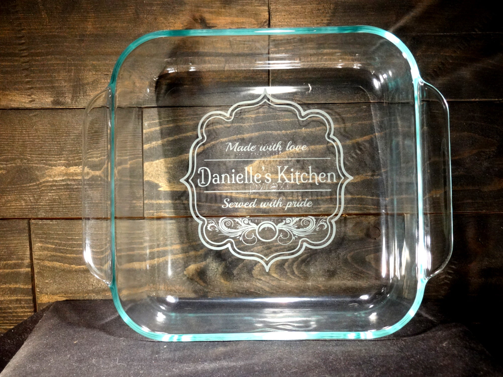 Custom Etched Baking Dish, Vintage Kitchen, 2qt