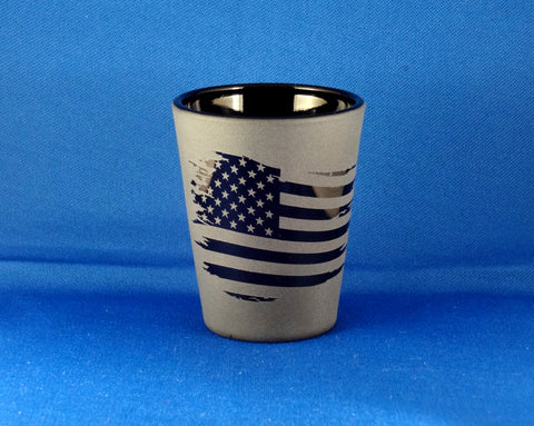 American Flag Etched Shot Glass, Blackout Glassware, Unique Black Shot Glass
