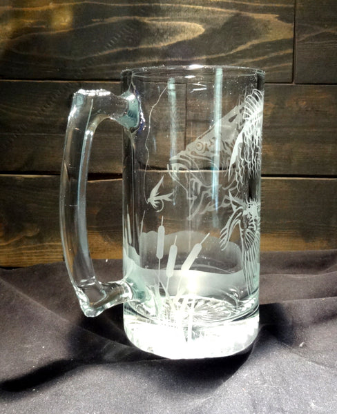 Bass Fishing Mug, Etched Glass Nature Scene Beer Mug